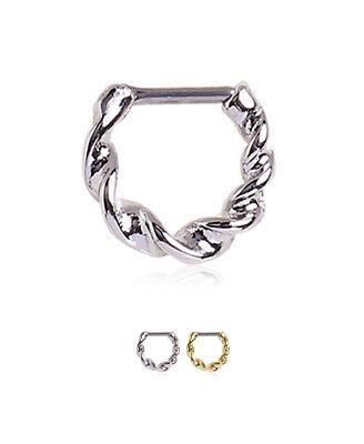 Septum Clicker 316L Surgical Steel Nose Ring Hoop Twisted Design 14 Gauge 14G