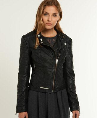 Superdry Womens Saint Leather Biker Jacket