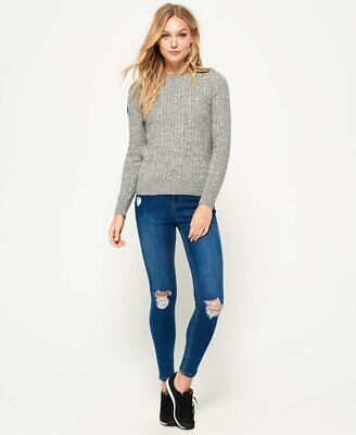 NWT - SUPERDRY Women's CROYDE CABLE KNIT JUMPER SWEATER Gamma Grey Marl - M