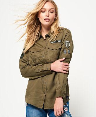 New Womens Superdry Military Shirt Cowboy Khaki