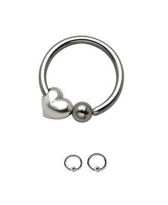 Steel Heart Captive Bead Ring Charm Ear Nose Septum Hoop 22G 20G 18G 16G