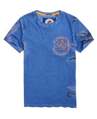 Blaues T-shirt Tasche (Neues Herren Superdry Leichtes Board Riders T-Shirt mit Tasche Cotton Field Blau)