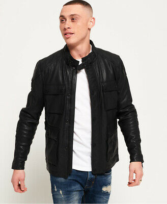 Superdry Mens Leather Rotor Jacket