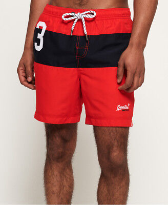 New Mens Superdry Water Polo Banner Swim Shorts Yacht Club Red