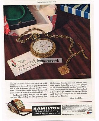1944 Hamilton Pocket Watch Christmas Letter From Wife Vintage Ad