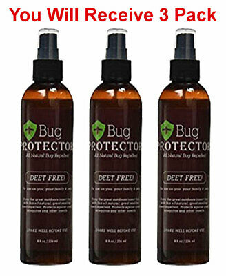 3x Bug Protector Natural Insect Repellent Spray Deet Free Flies Mosquito 8oz  - Fly Free Spray Repellent