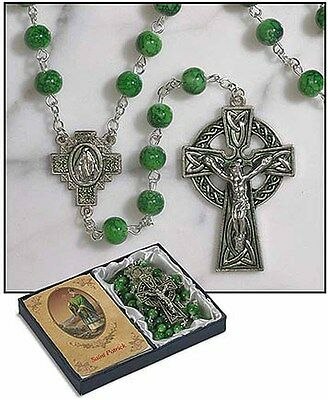 Irish Rosary with St. Patrick Holy Card and Blessing (TS046) NEW in Gift (St Patrick Rosary)