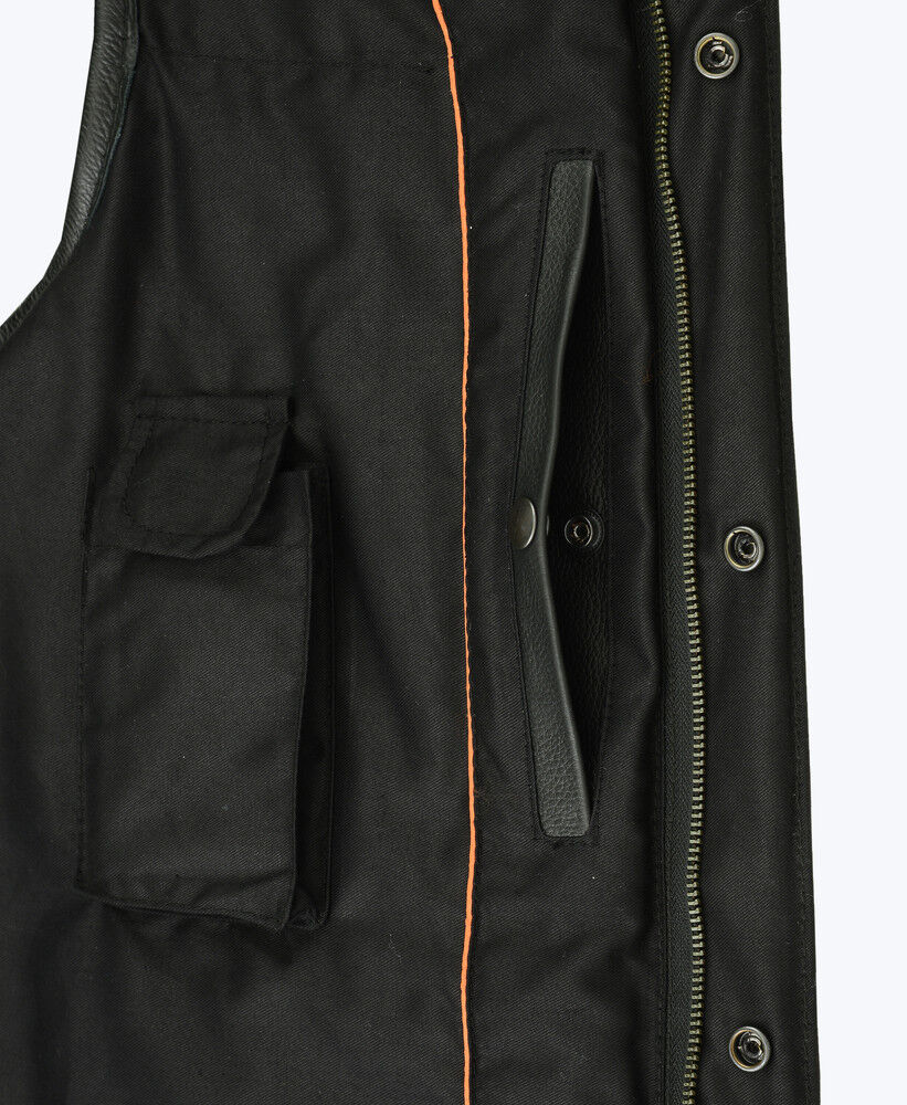 Canvas Mens Biker Collarless Material with Leather Trim Patch Holder Club Vest