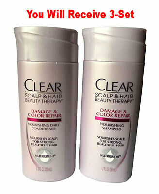 (3-Sets) Clear Travel Size Shampoo + Conditioner TSA Approved Moisturizer 1.7 oz