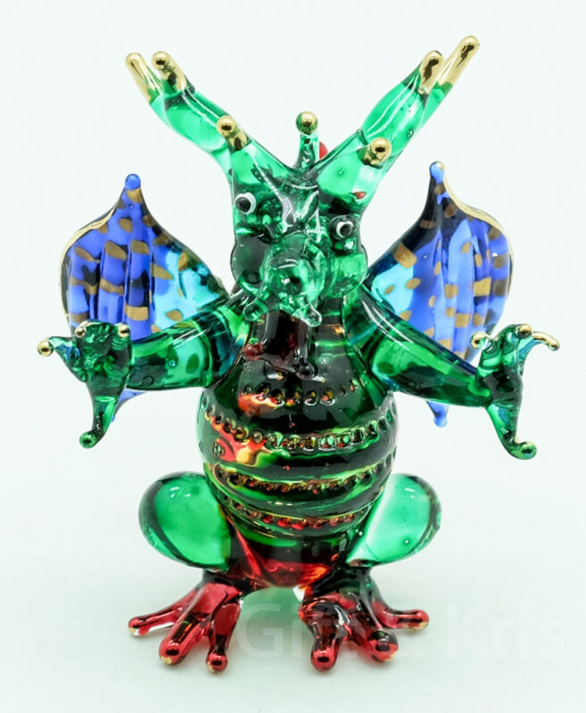 Figurine Hand Blown Glass Dragon Standing with Wings Spread Gold Trim - GNDG015