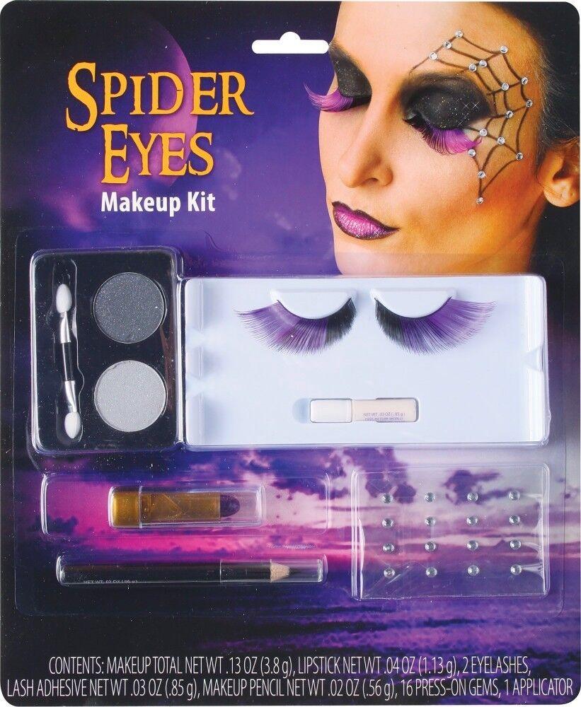 Halloween Schminkset Wimpern Strass Glitter Vampir Hexe Spinne Schminke Make-up