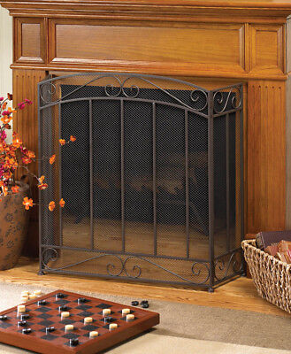 Classic Iron Folding Fireplace Screen