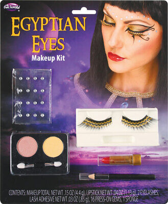 Ladies Queen Cleopatra Egyptian Eye Make Up Fancy Dress Costume Outfit Kit