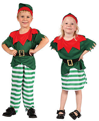 Christmas Elf Kids Toddler Santas Helper Fancy Dress Costume Outfit New Age 2-4 - Elf Toddler Outfit
