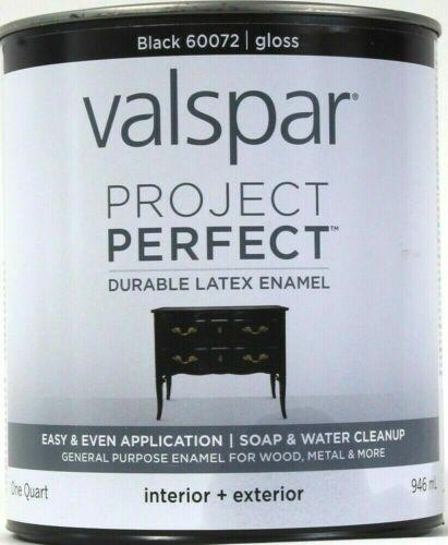 Valspar 1 Qt Project Perfect 60072 Black Gloss Inter Exter Durable Latex Enamel