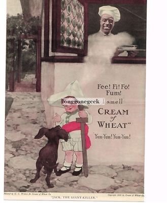 "1920 Cream Of Wheat Cereal ""Jack The Giant Killer"" G. C. Widney art Vtg Print Ad"