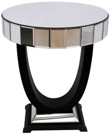 Mirror top table with lamp