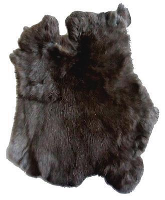 BUY 1 GET ONE FREE NATURAL BLACK  GENUINE RABBIT SKIN hide fur pelt skins bunny