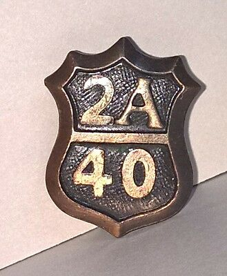 Ccc Civilian Conservation Corps Bronze Collar Badge Massechusetts Road 2A