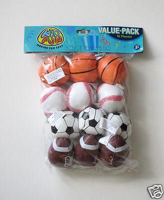 12 Mini Foam Stuffed Sports Balls Kid Birthday Party Good Loot Bag Favor Supply