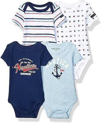 Nautica Infant Boys Blue & Multi 4 Pack Bodysuits Size 0/3M 3/6M 6/9M $42