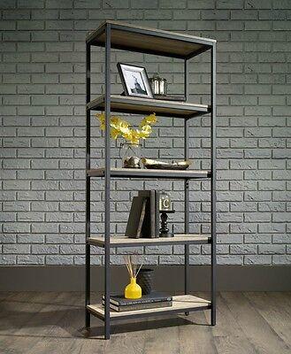Industrial Rustic Style 5 Tier Book Shelf Metal Wood Display Unit Bookcase Urban