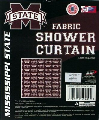 Mississippi State Bulldogs NCAA Fabric Shower Curtain (72x72) FREE US SHIPPING - Mississippi Shower Curtain