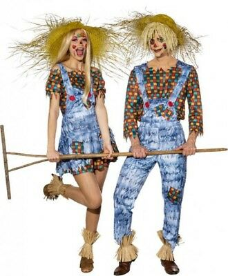 Couples Ladies AND Mens Harvest Scarecrow Halloween Fancy Dress Costumes Outfits](Halloween Outfits Couples)