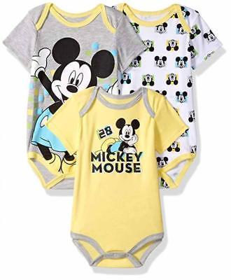 Disney Baby Boys Mickey Mouse Three-Pack Bodysuits Size 12M 18M 24M Baby Three Pack Bodysuits