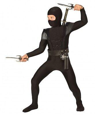 Schwarzer Ninja Bodysuit mit Schulterpanzer für Jungen Kinder-Kostüm Overall ()