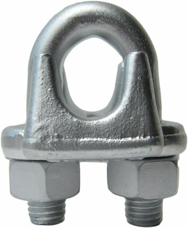 """3/8"""" Drop Forged Heavy Duty Galvanized Wire Rope Clips (100-Pack)"""