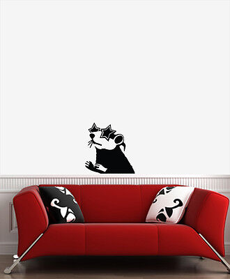 WALL - Banksy Style - Star Glasses Rat - Wall Vinyl Decal (17