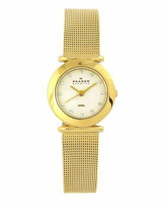 NIB SKAGEN Classic Gold Tone Steel Mesh Watch Crystals (Skagen Ladies Classic Mesh)