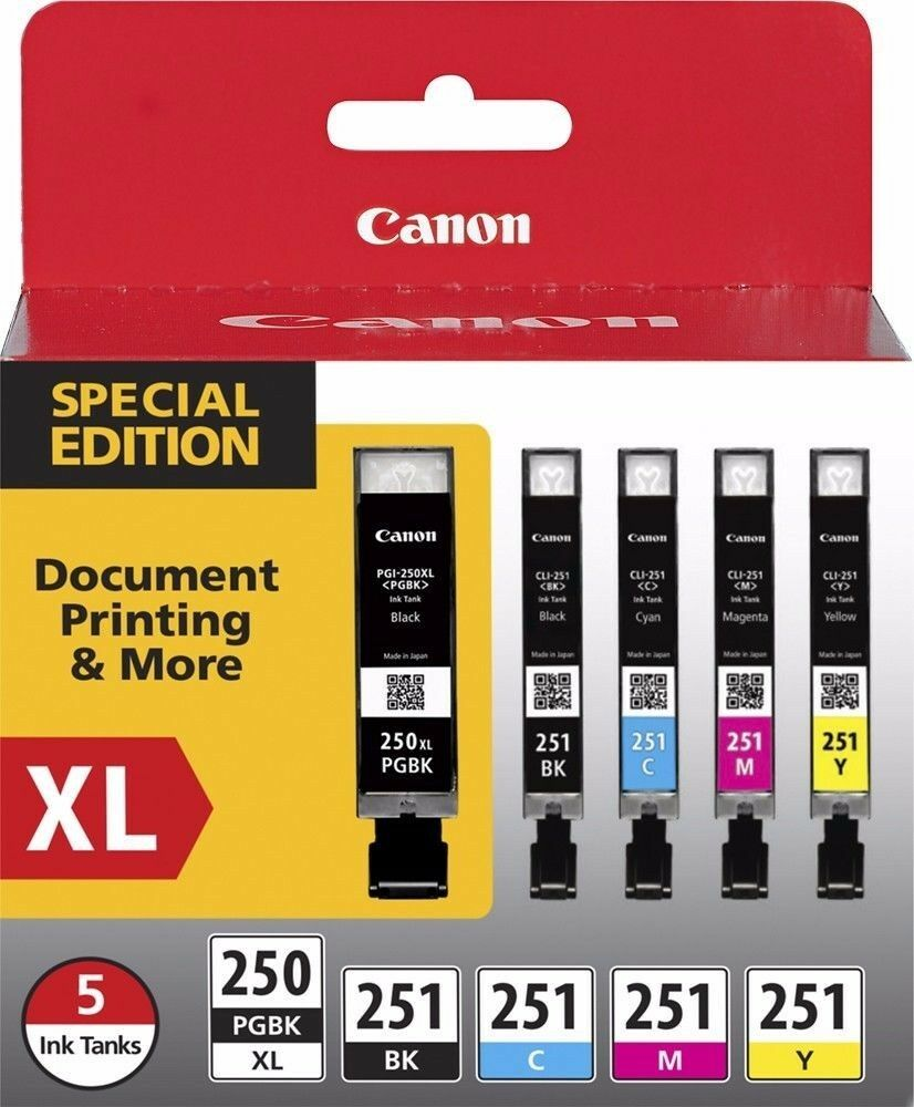 Canon PGI-250XL Black High Yield and CLI-251 B/C/M/Y Black