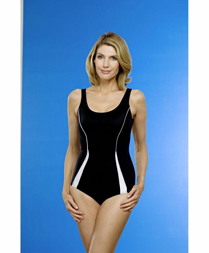 Damen Badeanzug schwarz Seitenstreifen Schwimmanzug NEU Gr. 42 - 60,Streifen 243