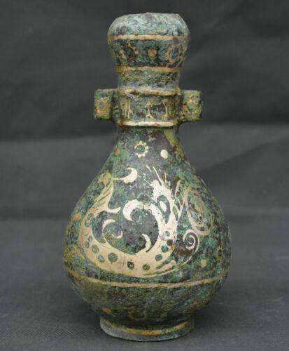 "8"" Old China Bronze Silver Dynasty Ancient Dragon Pattern Pot Bottle Vase"