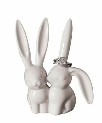 Creative Co-Op Ceramic Bunny Rabbit Ring Holder Jewelry Holders Organizers Boxes