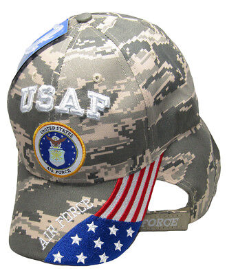 (USAF United States Air Force USA Flag On Bill Digital ACU Camo Embroidered Cap)