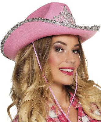 rosaner Cowboyhut mit Diadem Cowgirl Hut JGA Braut Karneval