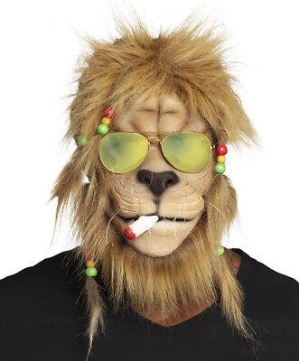 Maske Kiffender Rasta Löwe mit Haaren und Brille Latexmaske Karneval lustig Lustige Maske