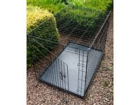 Large collapsible black metal dog crate