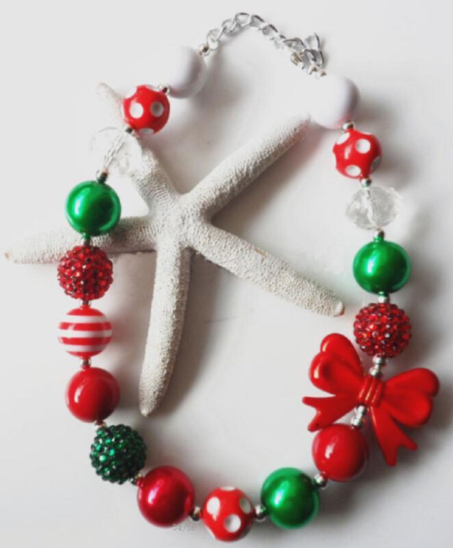 Christmas Holiday Chunky Bead Necklace for Little Girls and Newborn Photo Shoot