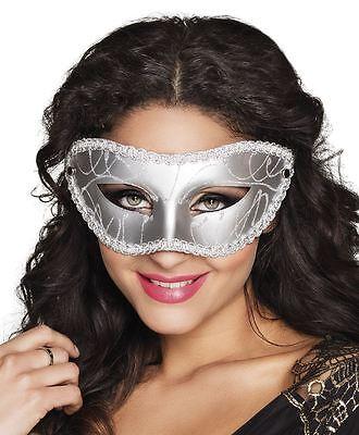Venician Mask (Womens Ladies Silver Eye Mask Masquerade Ball Venician Renaissance Fancy)