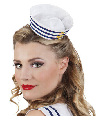 Haarreif mit Mini Matrosenmütze blau-weiß Seemann Matrose Hut