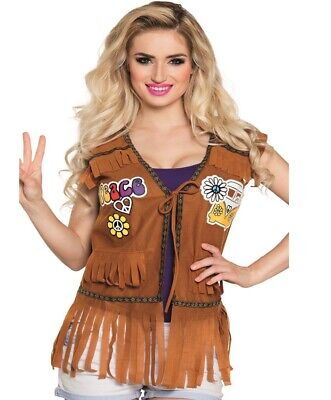 Hippie Jacke Fransenweste Damen Kostüm 60er 70er Jahre Flower Power Weste # (Fransen Hippie Kostüm)