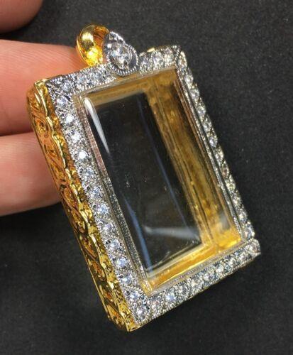BEAUTIFUL GOLD CASE EMBED DIAMOND FOR PHRA SOMDEJ THAI BUDDHA AMULET PENDANT