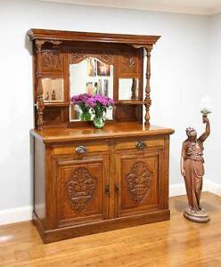 Antique Art Nouveau Carved Oak Mirror back Sideboard Cabinet Williamstown Hobsons Bay Area Preview