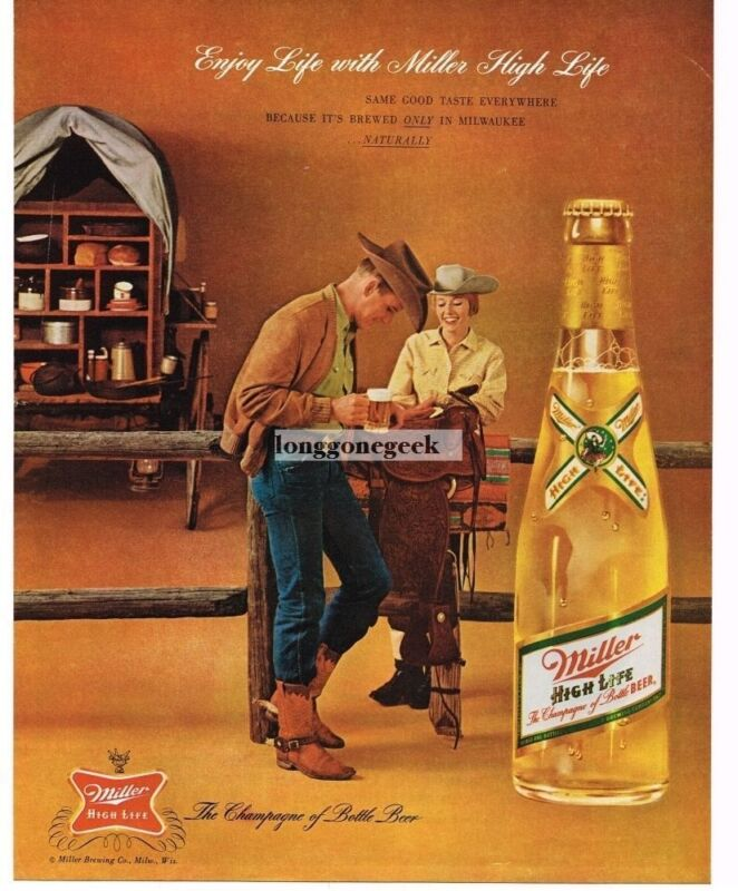 1962 MILLER High Life Beer Cowboy Cowgirl Cook Wagon Saddle Vintage Ad