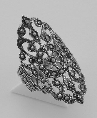 Antique Style Marcasite Ring - Filigree Design - Sterling Silver - Size 6 1/2