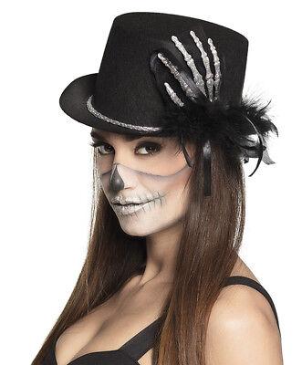 Ladies Adult Black Top Hat & Skeleton Hand Halloween Voodoo Gothic Steampunk - Black Top Hats Kostüm